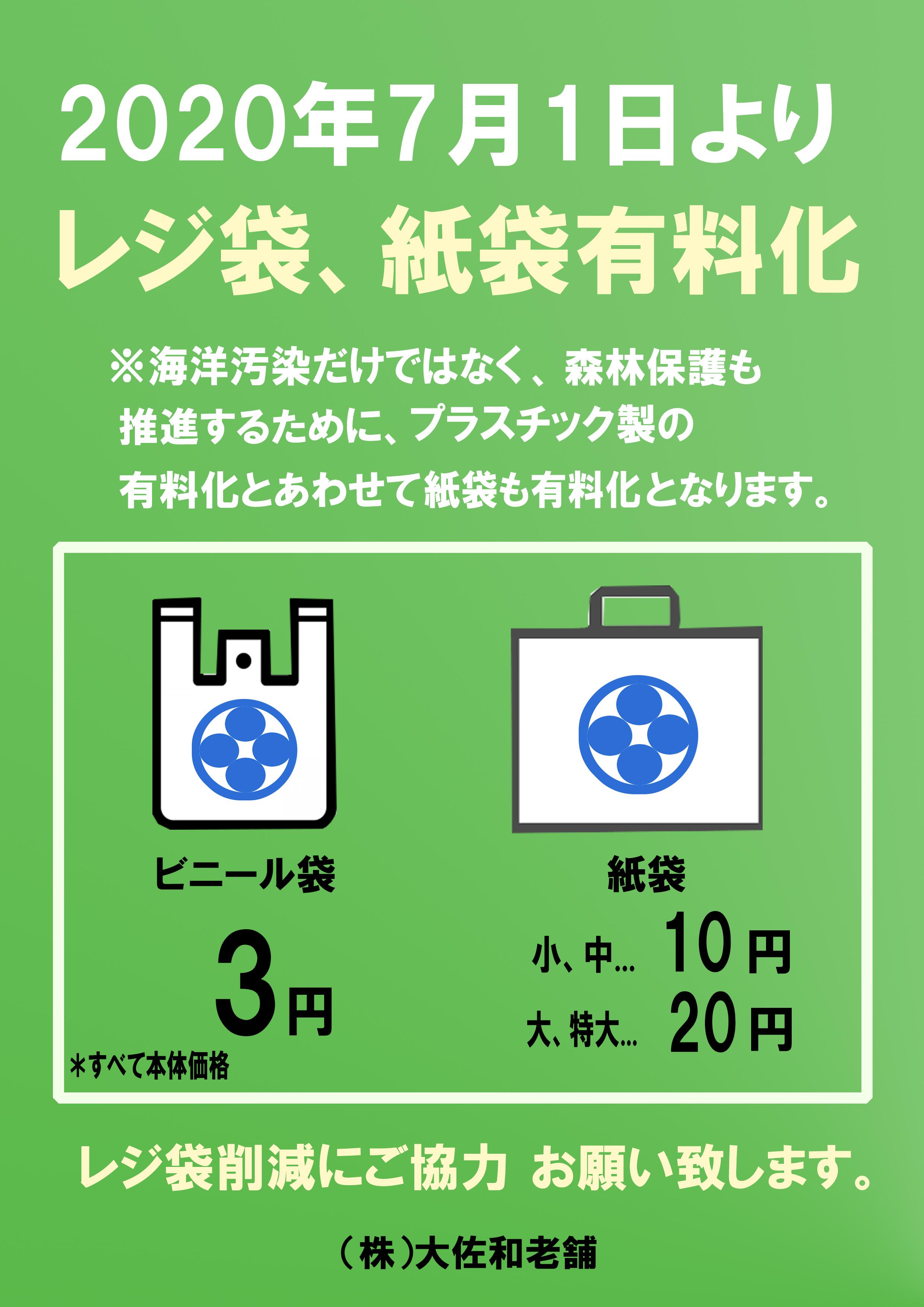 お客様へ~重要なお知らせ・レジ袋、紙袋有料化について〜